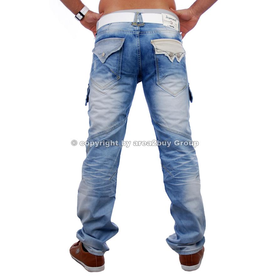 jeansnet clubwear herren jeans hose cargo style blue jn. Black Bedroom Furniture Sets. Home Design Ideas