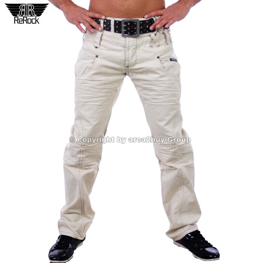 geile rerock brandnew cargo jeans herren hose beige rr. Black Bedroom Furniture Sets. Home Design Ideas