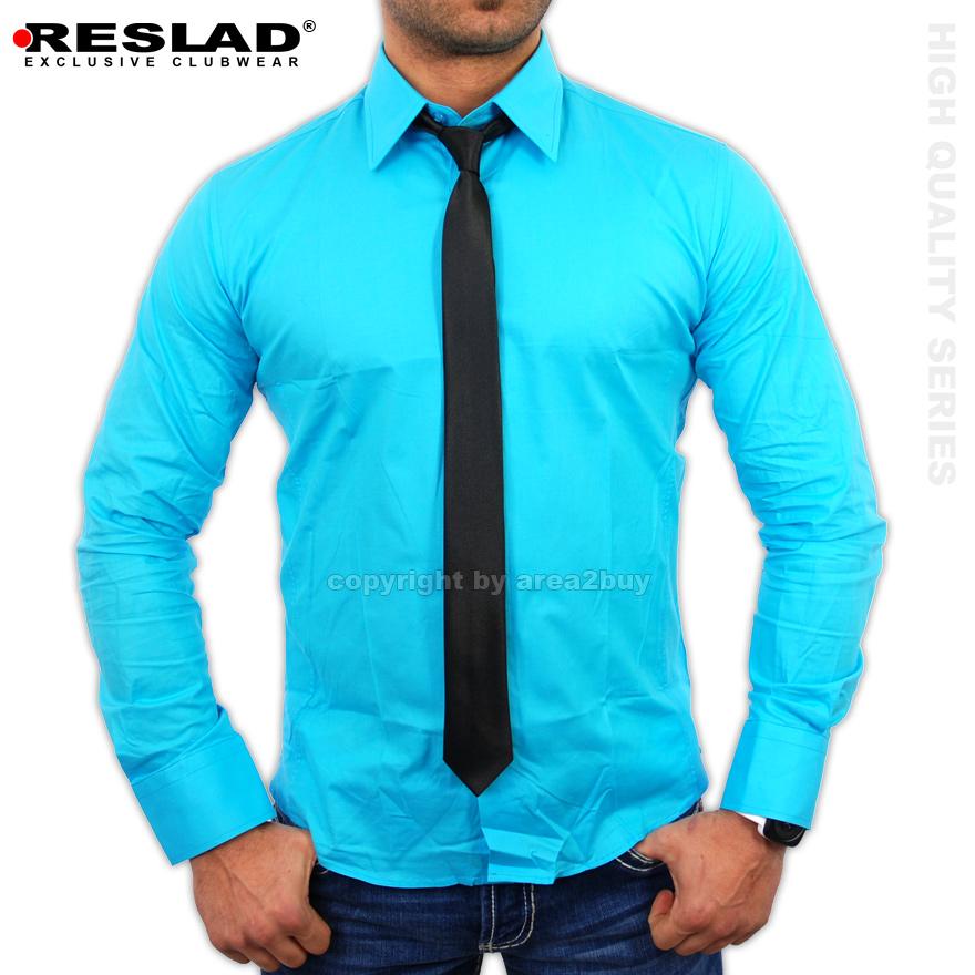 geiles reslad long dayton langarm herren hemd krawatte set t rkis ebay. Black Bedroom Furniture Sets. Home Design Ideas