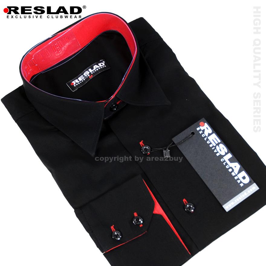 reslad herren langarm hemd alabama rs 7050 schwarz rot m. Black Bedroom Furniture Sets. Home Design Ideas