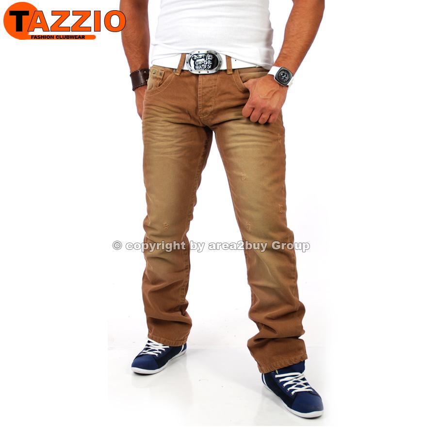 tazzio clubwear herren jeans hose braun vintage colored tz 5124 neu. Black Bedroom Furniture Sets. Home Design Ideas