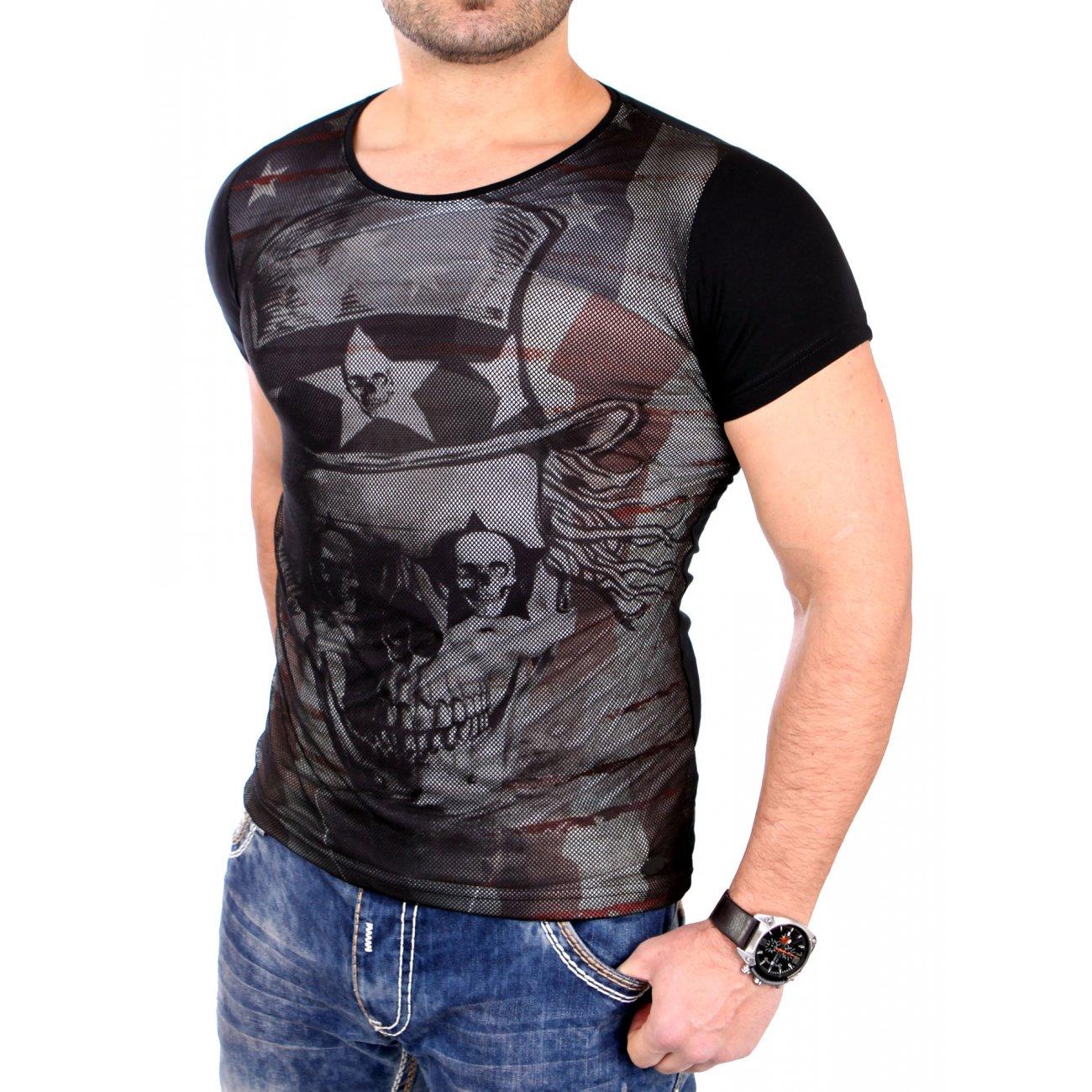 carisma t shirt herren slim fit totenkopf print netz shirt crsm 4277. Black Bedroom Furniture Sets. Home Design Ideas