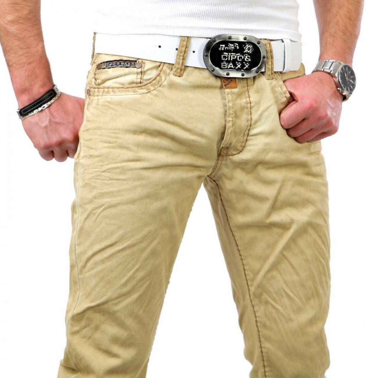 jeans herren mit dicken n hten camel cipo baxx g nstig. Black Bedroom Furniture Sets. Home Design Ideas