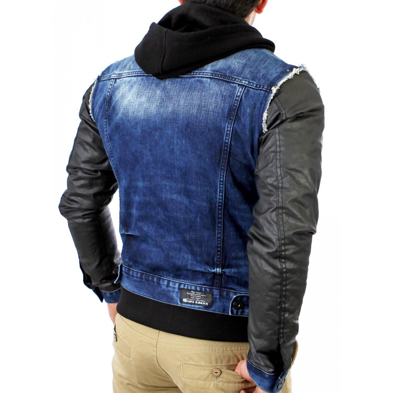 cipo baxx jeansjacke herren blau schwarz c 1290 kaufen. Black Bedroom Furniture Sets. Home Design Ideas
