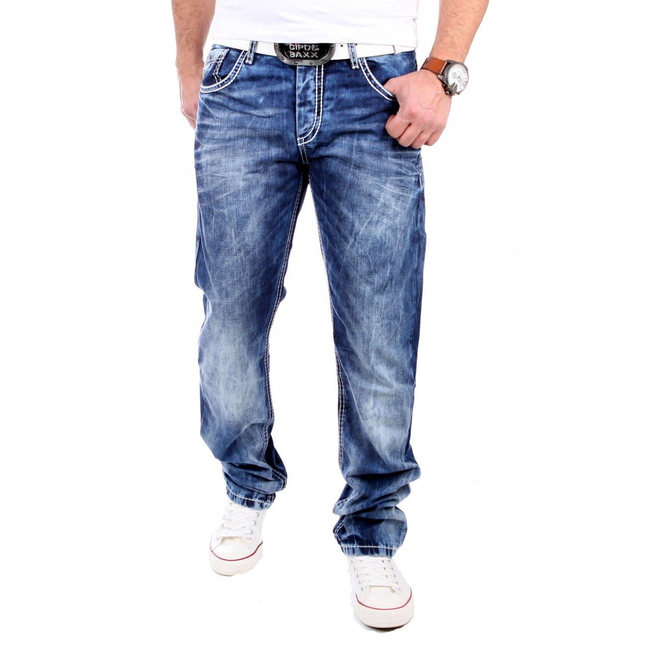 cipo baxx herren jeans used look denim c 1172 blau. Black Bedroom Furniture Sets. Home Design Ideas