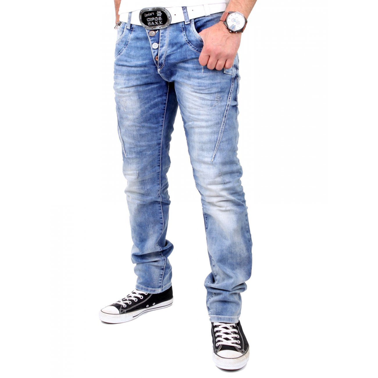 cipo baxx herren jeans used look slim fit jeanshose cd. Black Bedroom Furniture Sets. Home Design Ideas