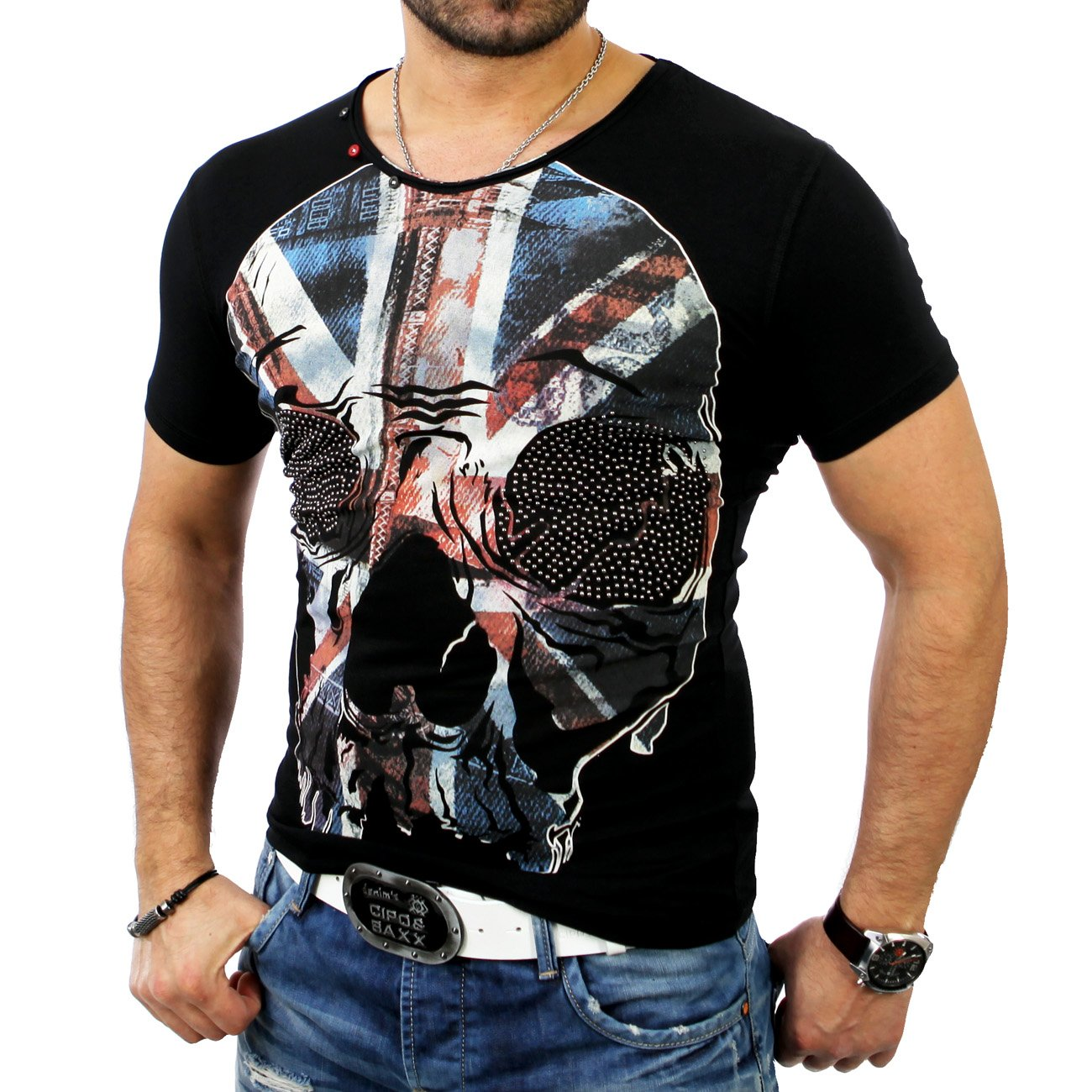totenkopf shirt cipo baxx t shirt mit skull c 5320 g nstig. Black Bedroom Furniture Sets. Home Design Ideas