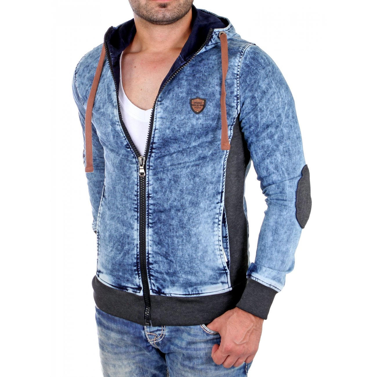 cipo baxx jeansjacke herren 2in1 look jacke cj 140 blau. Black Bedroom Furniture Sets. Home Design Ideas