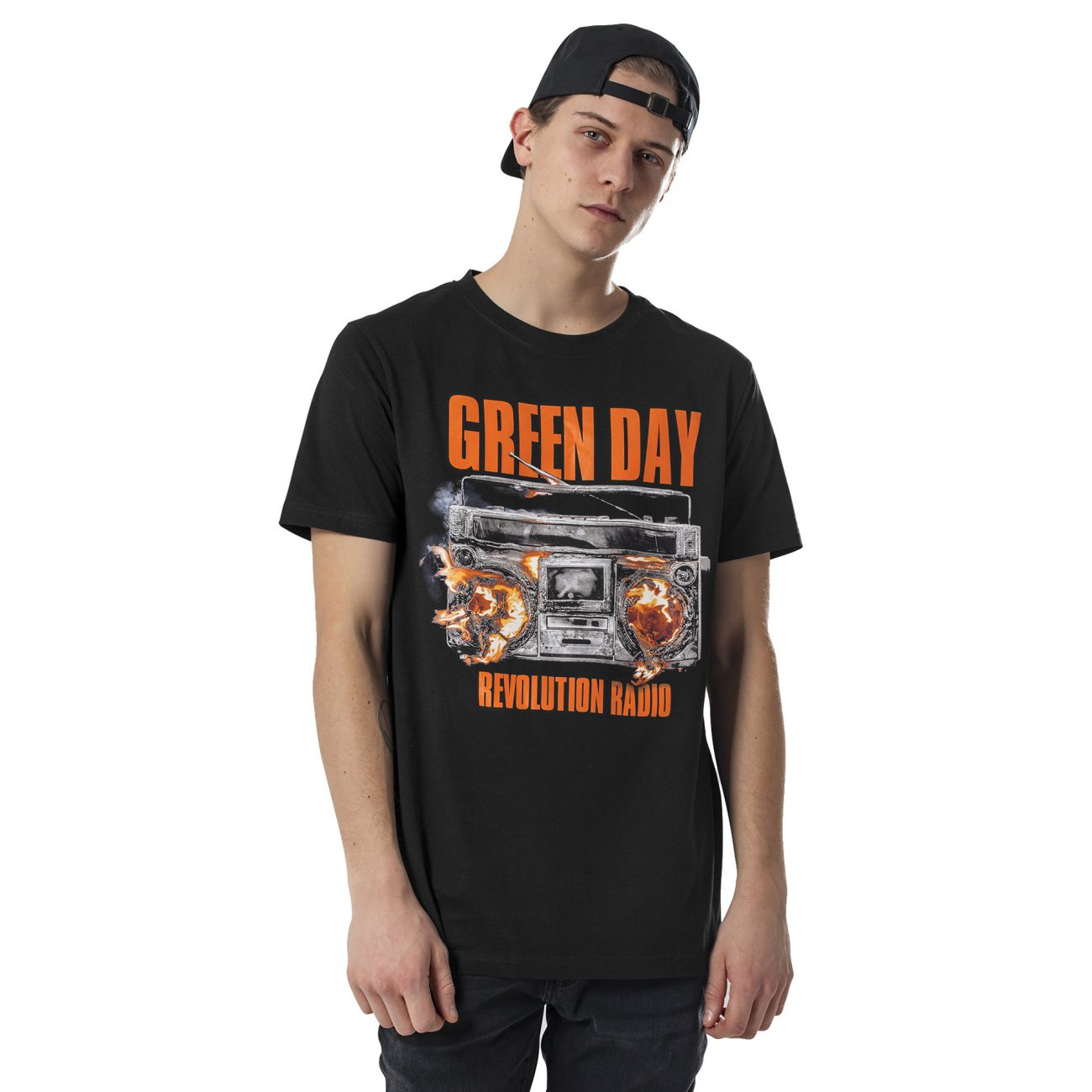 Merchcode t shirt herren green day radio print kurzarm for Sustainable t shirt printing