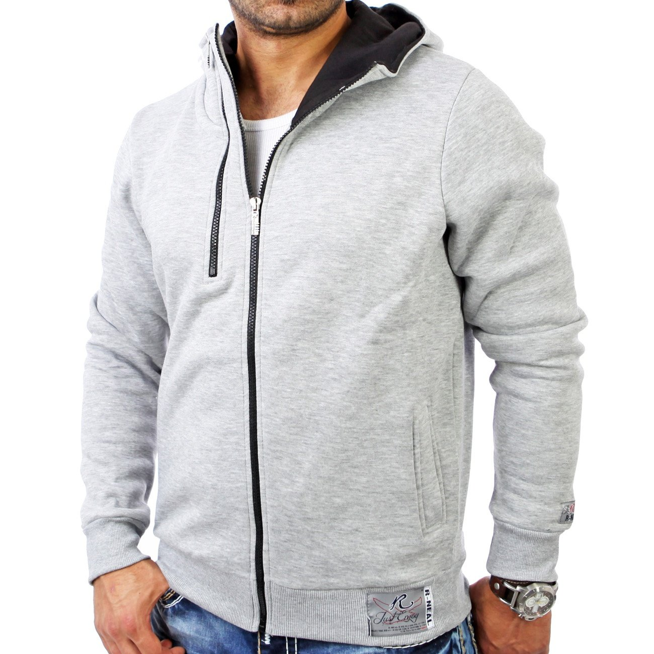 sweatjacke herren grau r neal 7003 hoodie g nstig. Black Bedroom Furniture Sets. Home Design Ideas