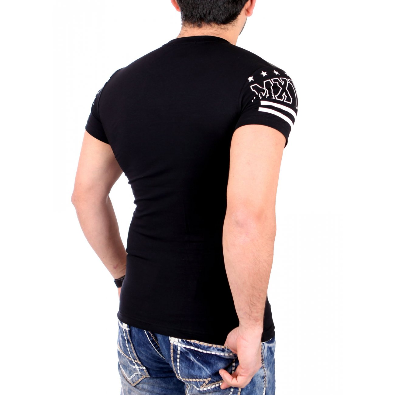 zipper t shirt rerock herren kunstleder style shirt. Black Bedroom Furniture Sets. Home Design Ideas