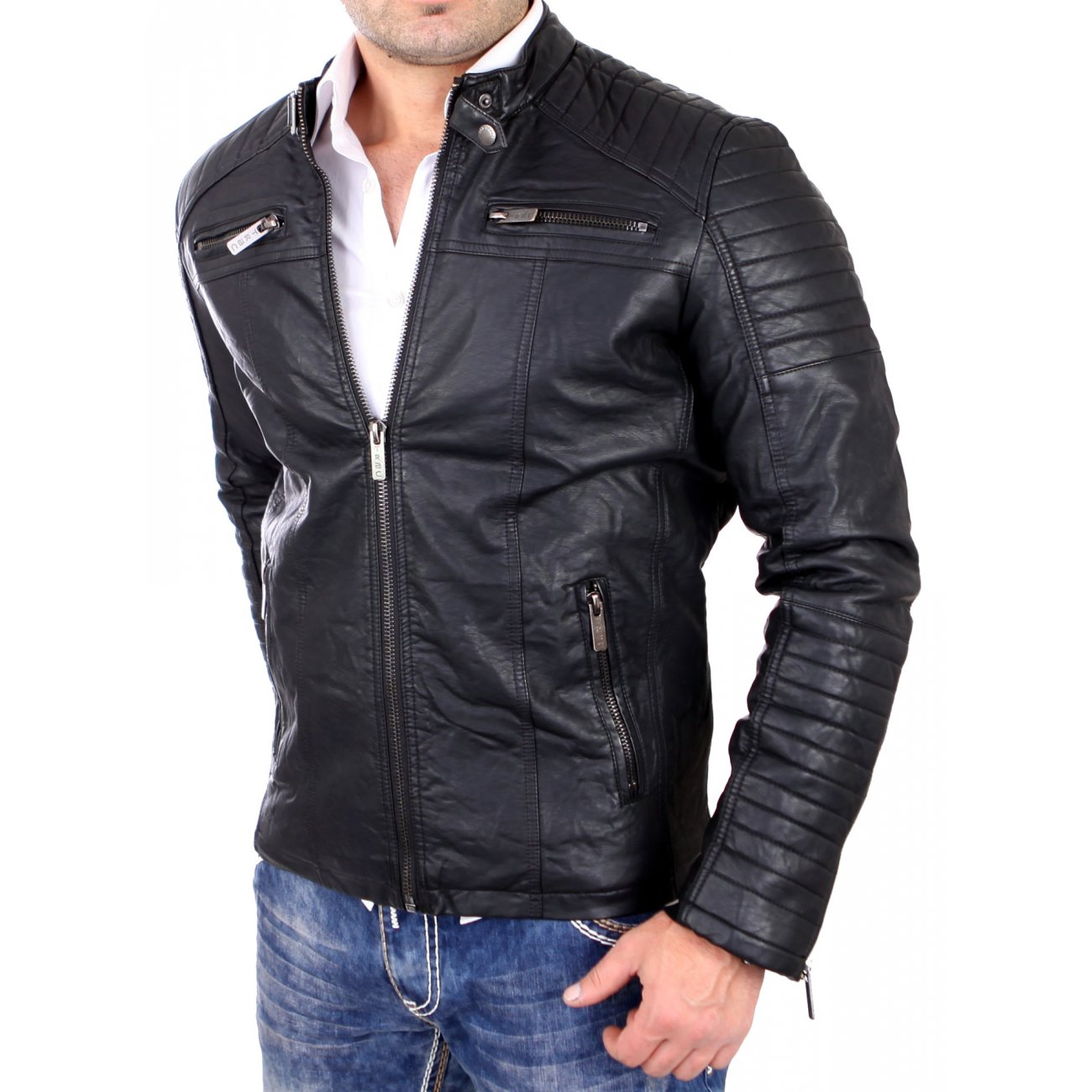 redbridge lederjacke herren kunst lederjacke bikerjacke rb 6013 schw. Black Bedroom Furniture Sets. Home Design Ideas