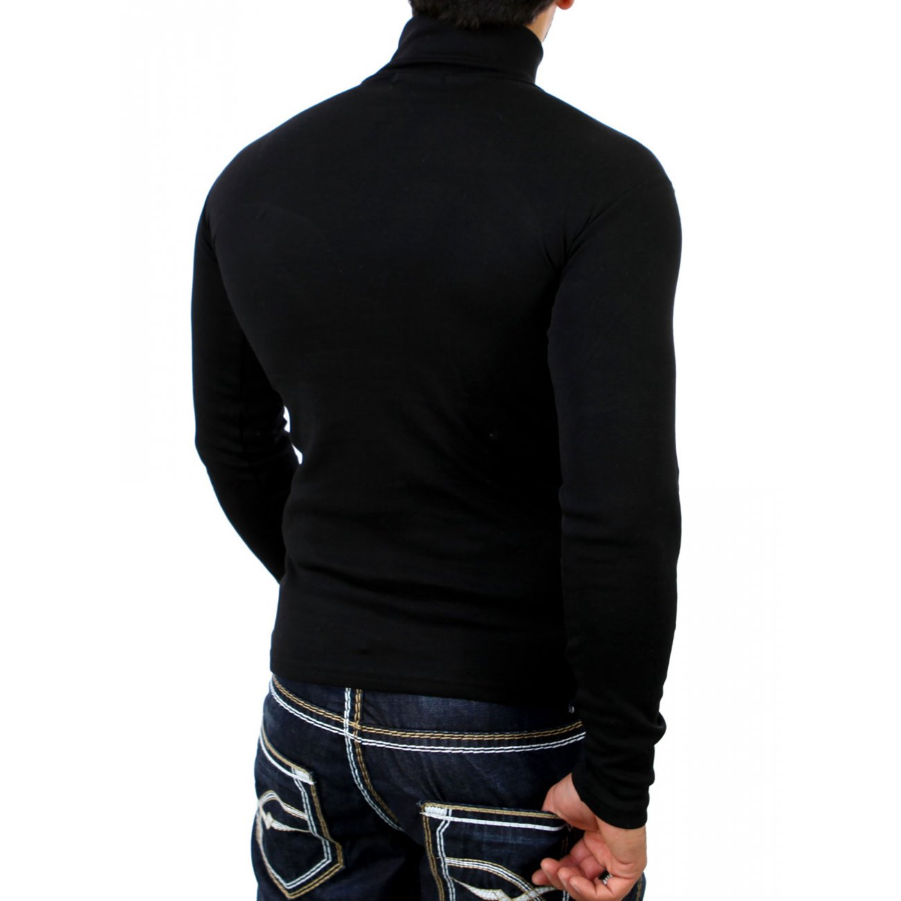 reslad herren feinstrick rollkragen pullover rs 1088 schwarz l. Black Bedroom Furniture Sets. Home Design Ideas