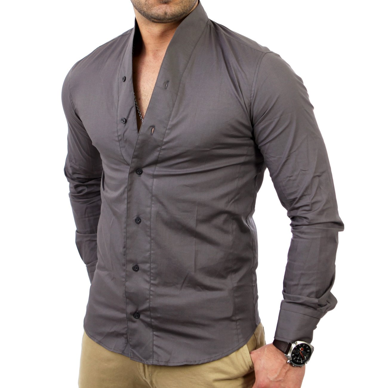 langarmhemd herren stehkragen reslad hemden g nstig. Black Bedroom Furniture Sets. Home Design Ideas