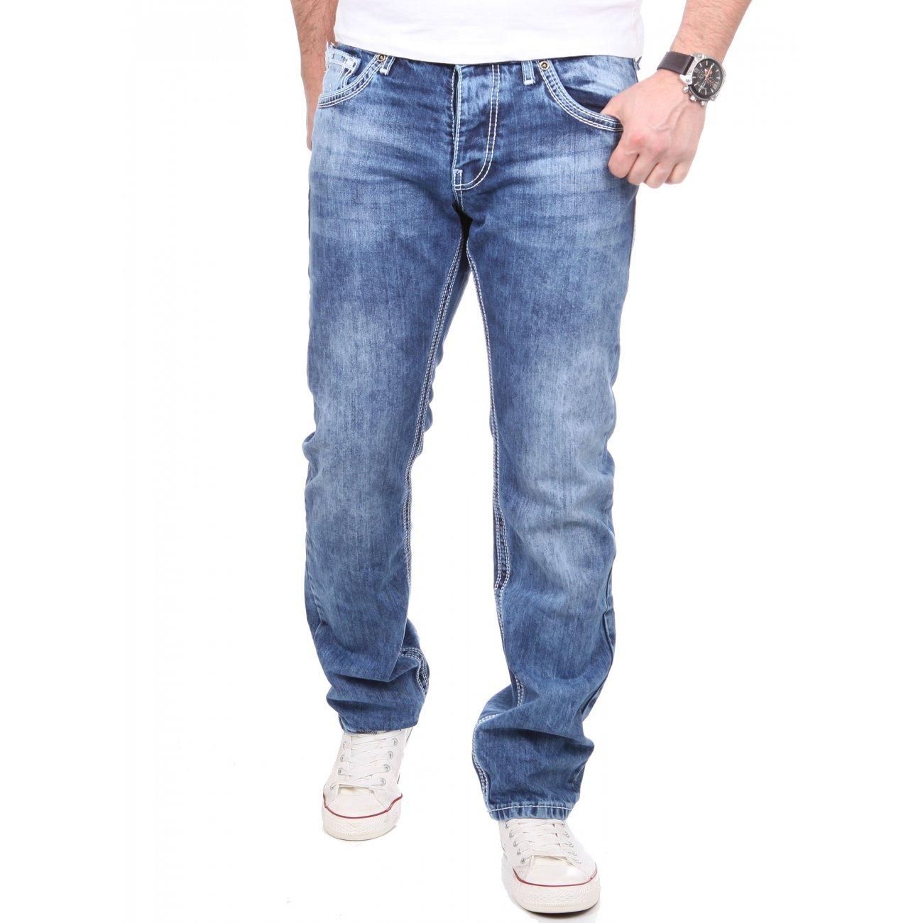 herren jeans used style mit dicker naht 9574 g nstig kaufen. Black Bedroom Furniture Sets. Home Design Ideas
