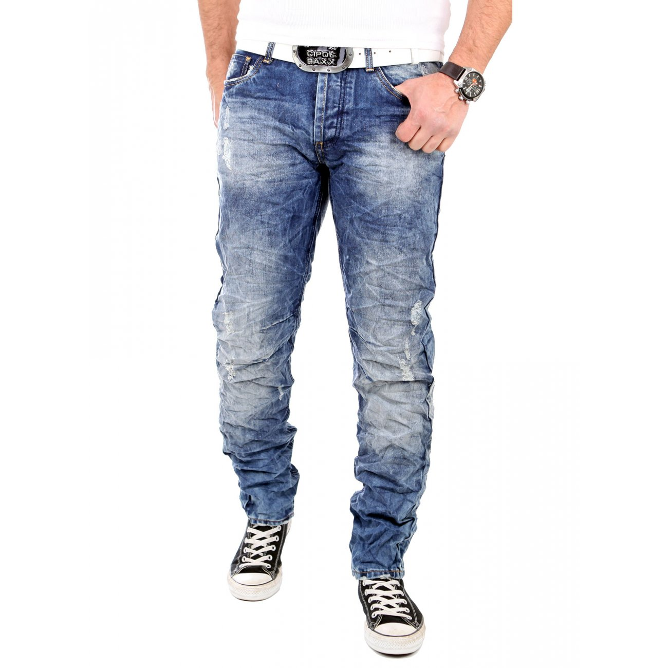 reslad jeans herren slim fit hose destroyed style blau. Black Bedroom Furniture Sets. Home Design Ideas