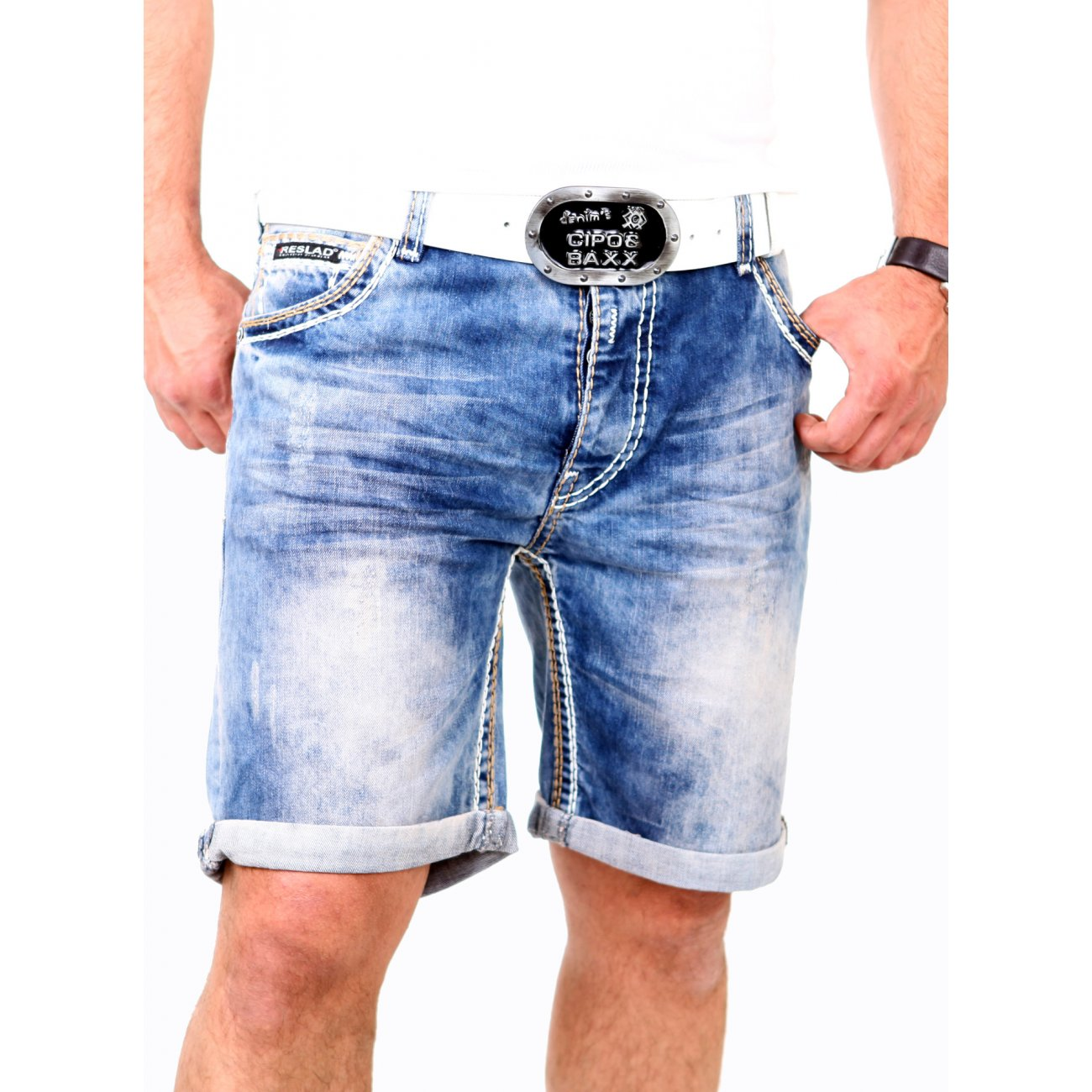 jeans shorts mit dicken n hten reslad jeans bermuda. Black Bedroom Furniture Sets. Home Design Ideas