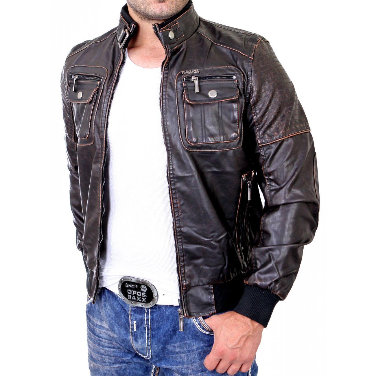kunstlederjacke herren in braun biker lederjacke g nstig. Black Bedroom Furniture Sets. Home Design Ideas