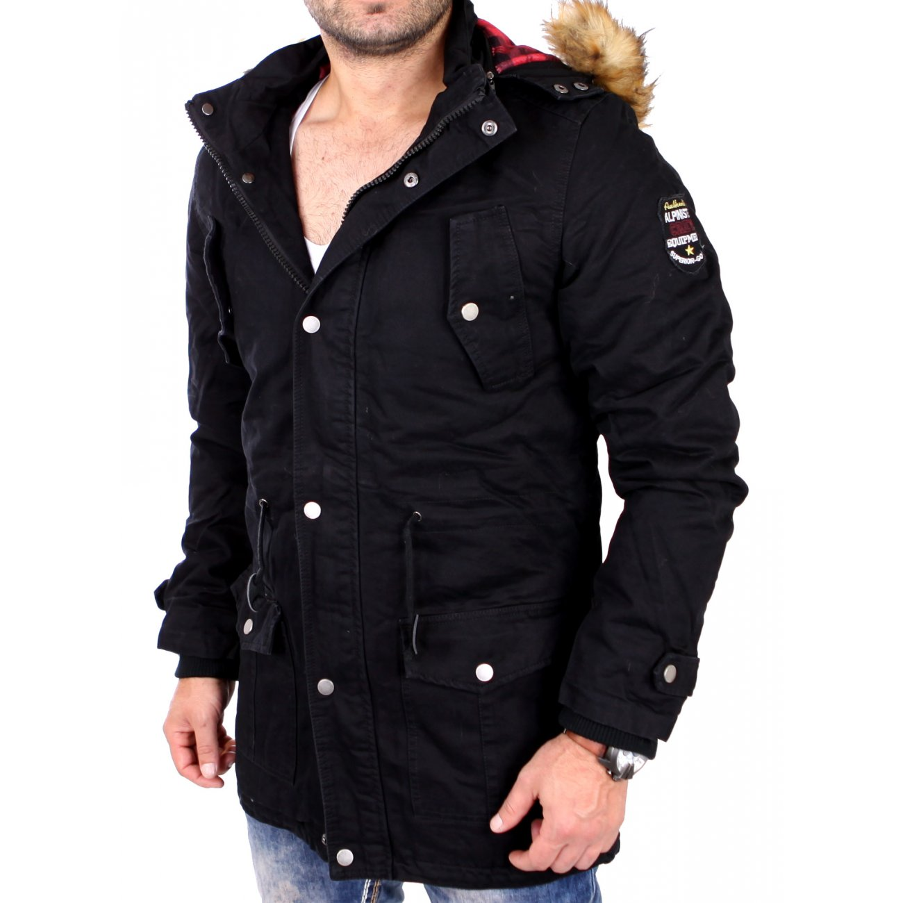 herren parka mit fell reslad winterjacke herren parka. Black Bedroom Furniture Sets. Home Design Ideas
