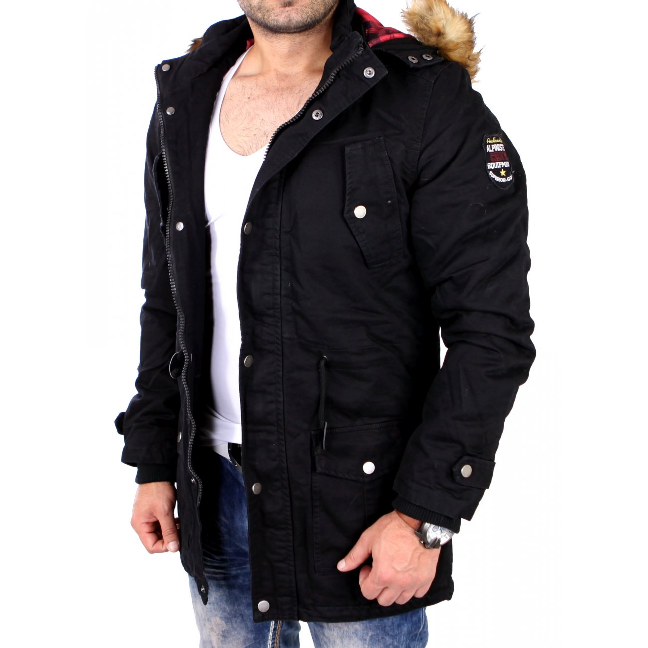 reslad winterjacke herren parka jacke mit kapuze und fell rs 505. Black Bedroom Furniture Sets. Home Design Ideas