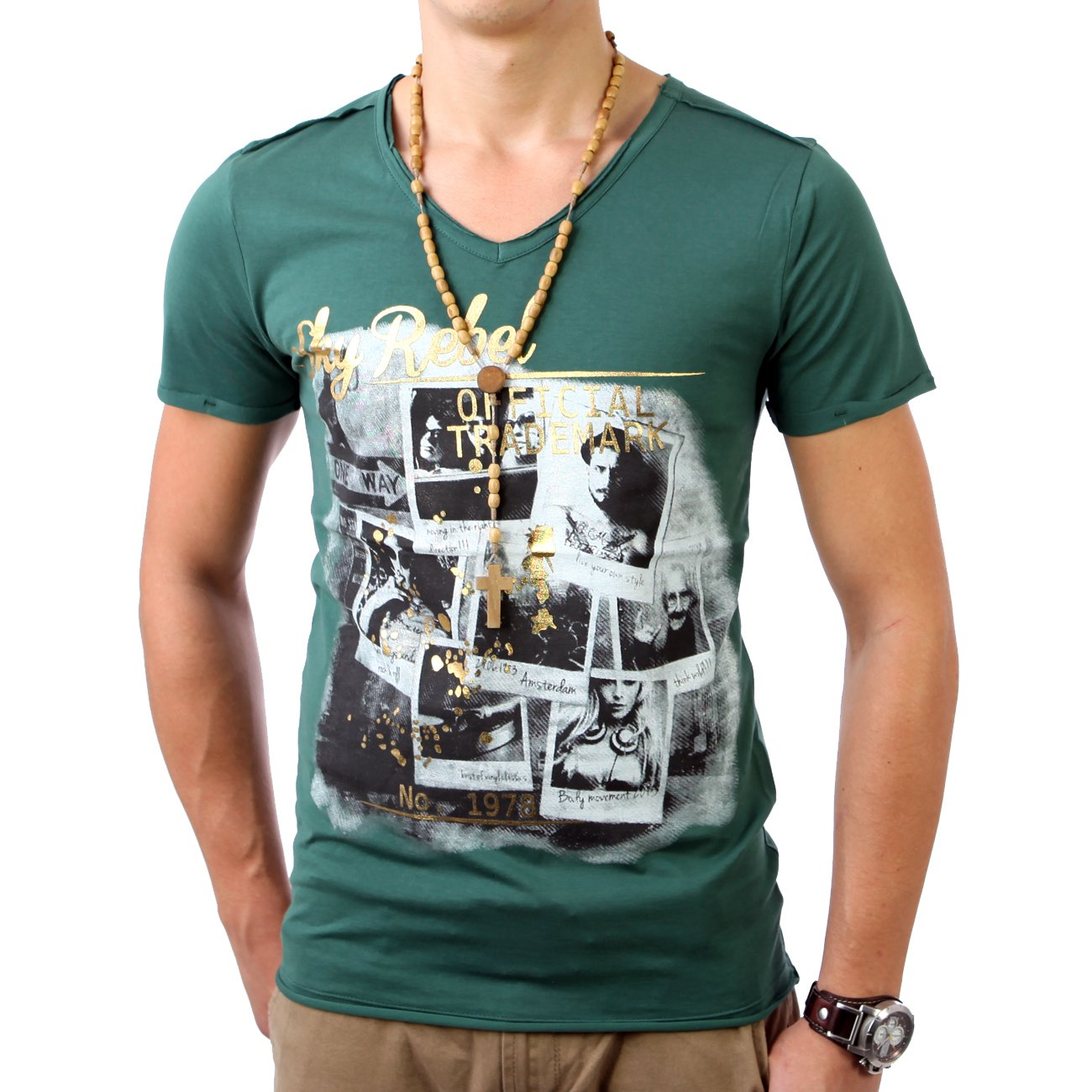 T shirt herren mit print v neck skyrebel g nstig kaufen for T shirt printing local area