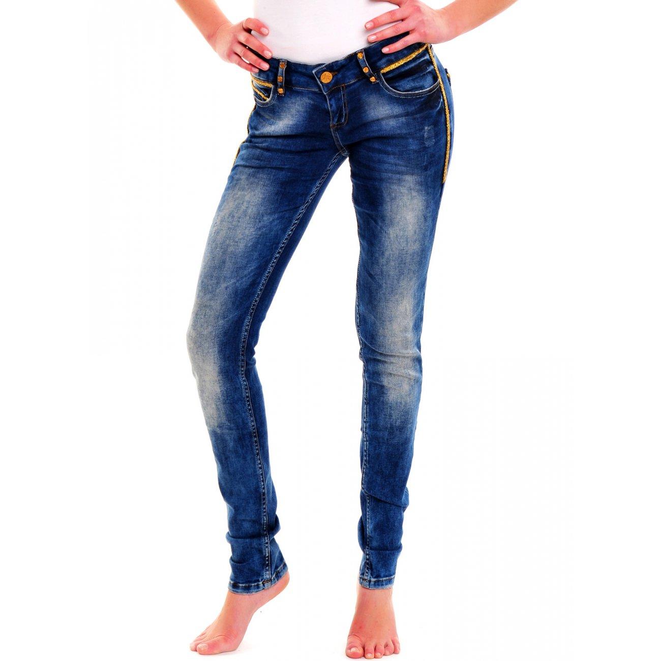 high waist jeans damen tazzio 6014 blau g nstig kaufen. Black Bedroom Furniture Sets. Home Design Ideas