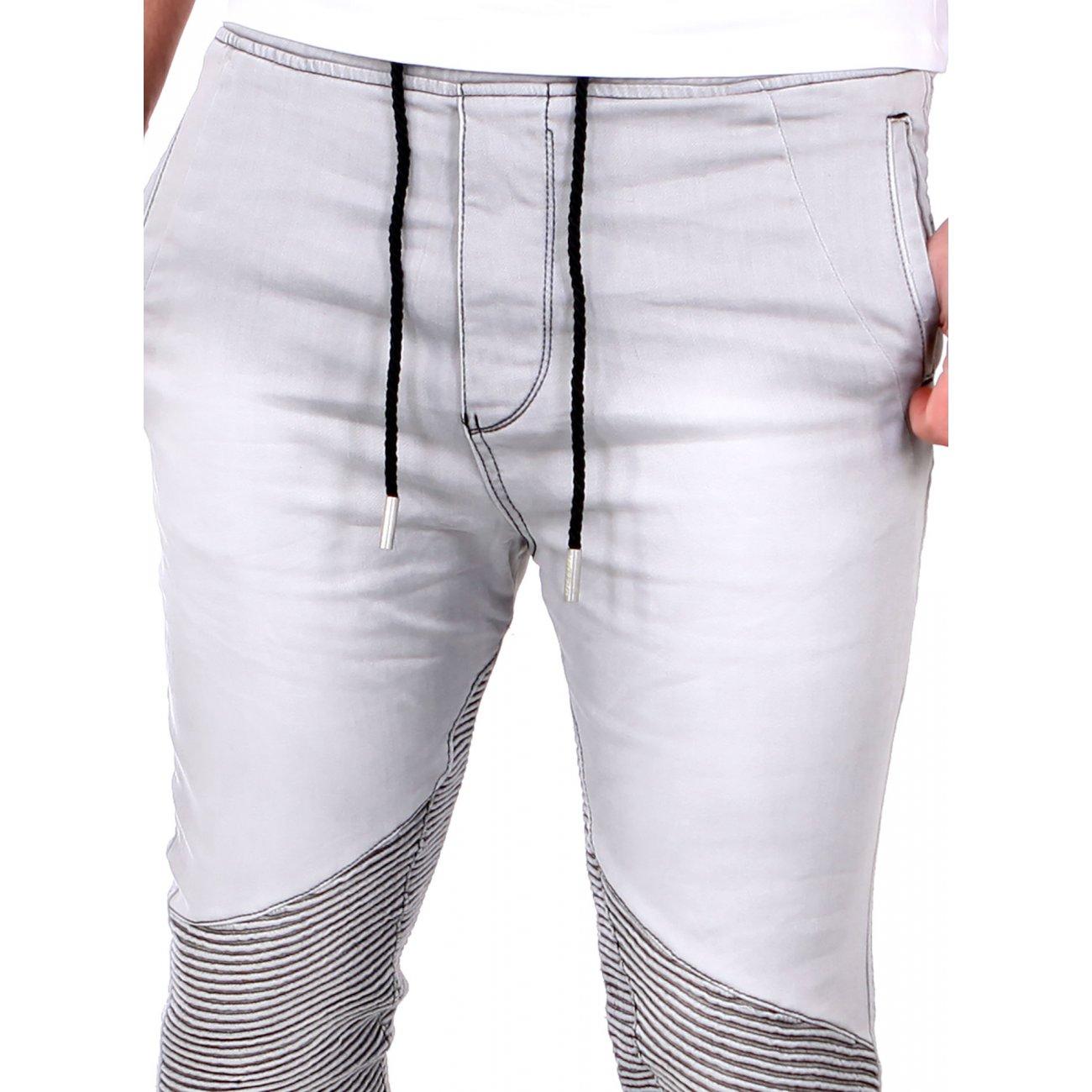 tazzio jeans jogginghose sweatpant jogg jeans biker grau. Black Bedroom Furniture Sets. Home Design Ideas