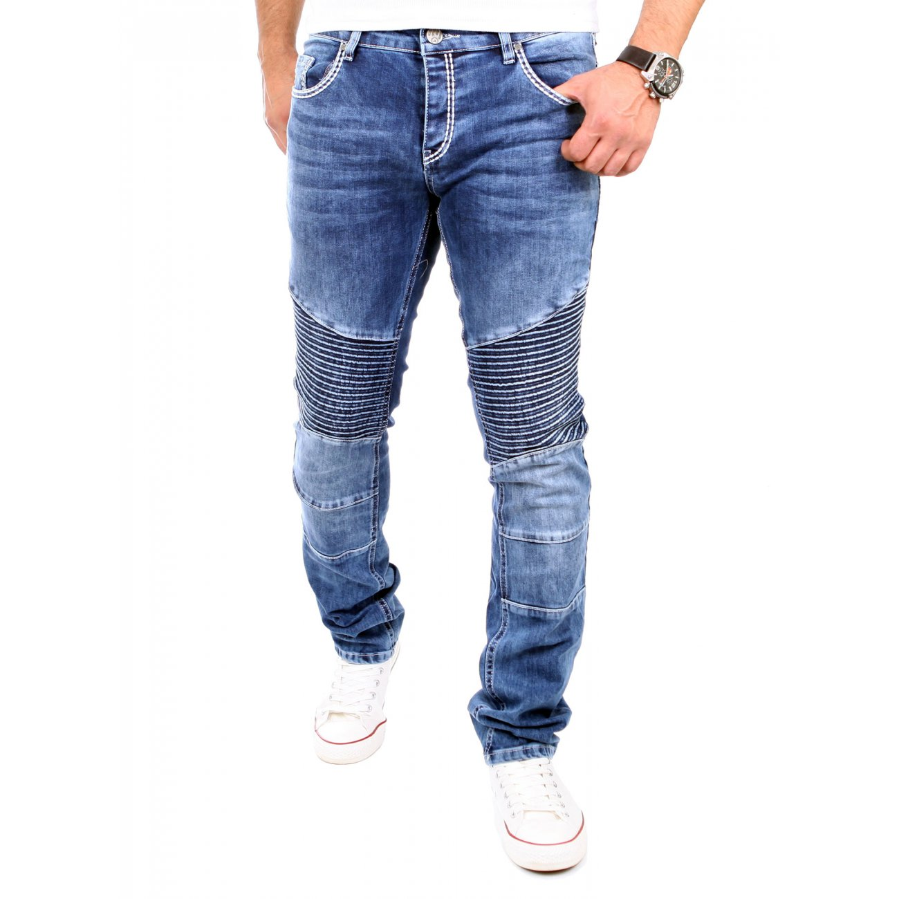 tazzio jeans herren denim biker jeanshose tz 16528 blau. Black Bedroom Furniture Sets. Home Design Ideas