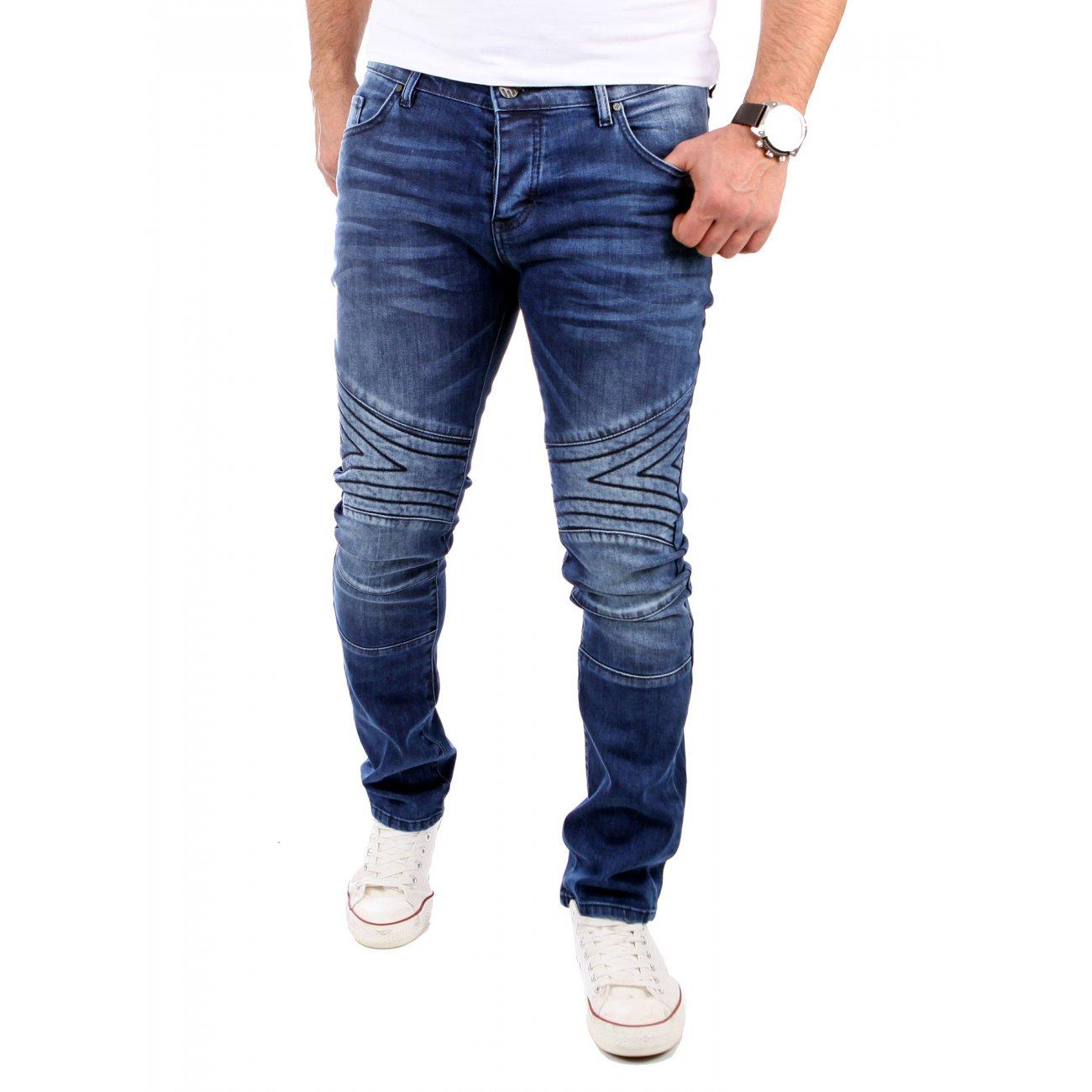 tazzio jeans herren slim fit biker stil 5 pocket jeans blau. Black Bedroom Furniture Sets. Home Design Ideas
