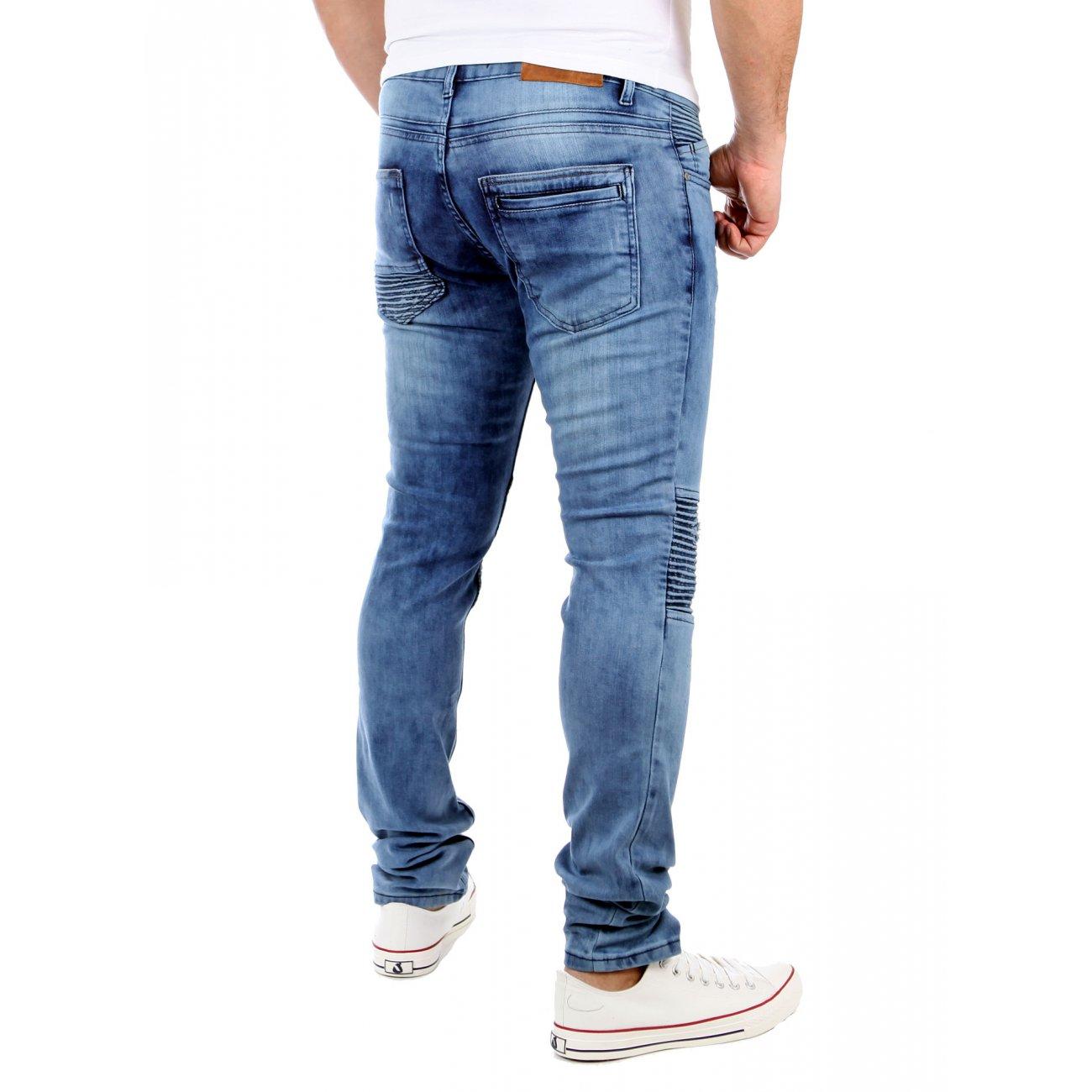 slim jeans herren tazzio strech biker look jeanshose blau. Black Bedroom Furniture Sets. Home Design Ideas