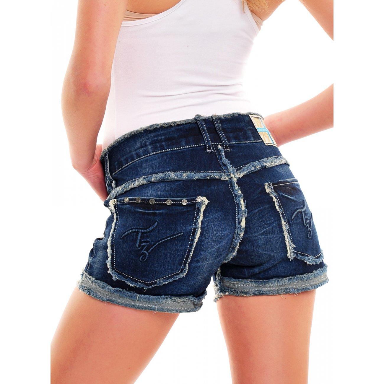 shorts damen high waist jeans hotpants 6006 g nstig. Black Bedroom Furniture Sets. Home Design Ideas