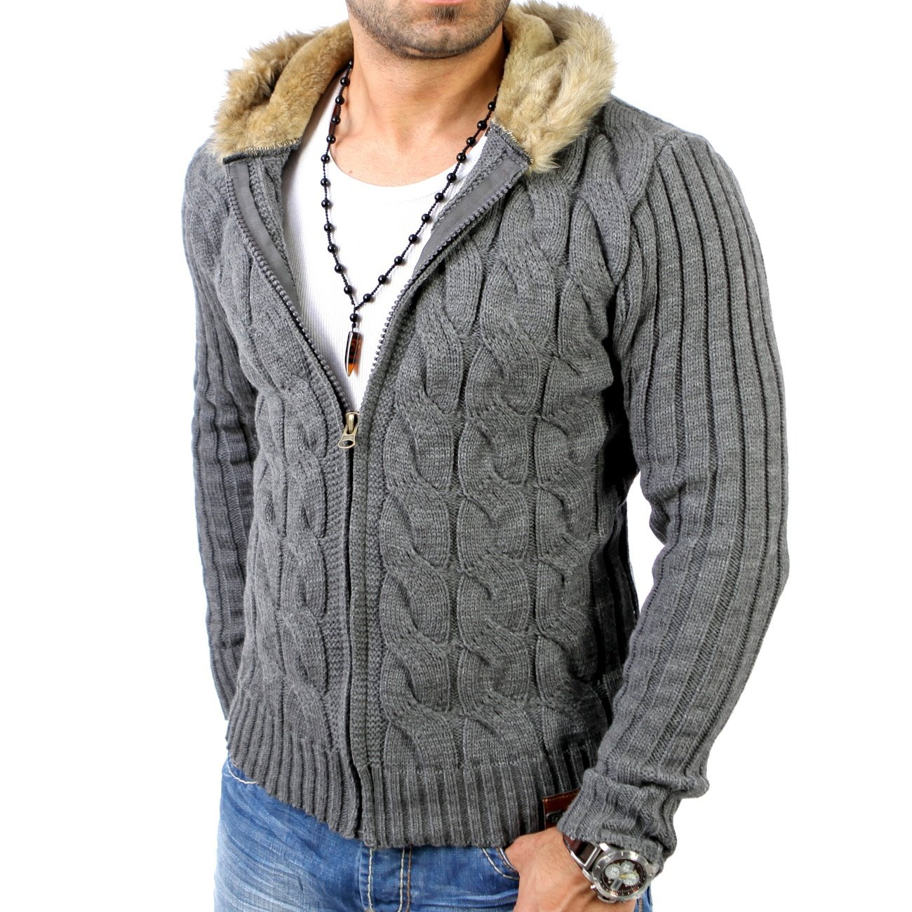 tazzio tz 3988 grobstrick winter jacke kapuzen pullover d grau. Black Bedroom Furniture Sets. Home Design Ideas