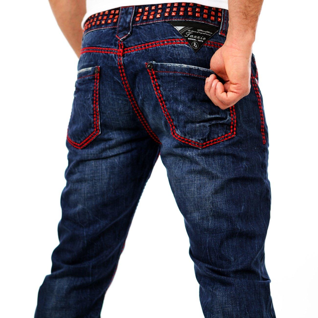 herren jeans mit nieten blau tazzio 5143 g nstig kaufen. Black Bedroom Furniture Sets. Home Design Ideas