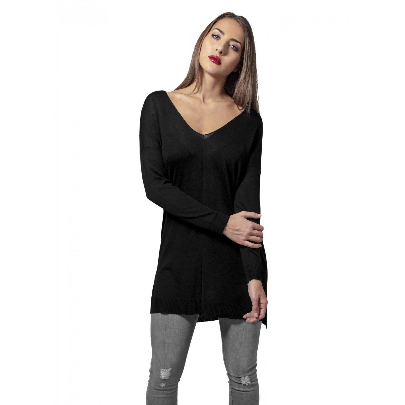 langes oberteil damen urban classics sweatshirt oversize v neck pullover. Black Bedroom Furniture Sets. Home Design Ideas