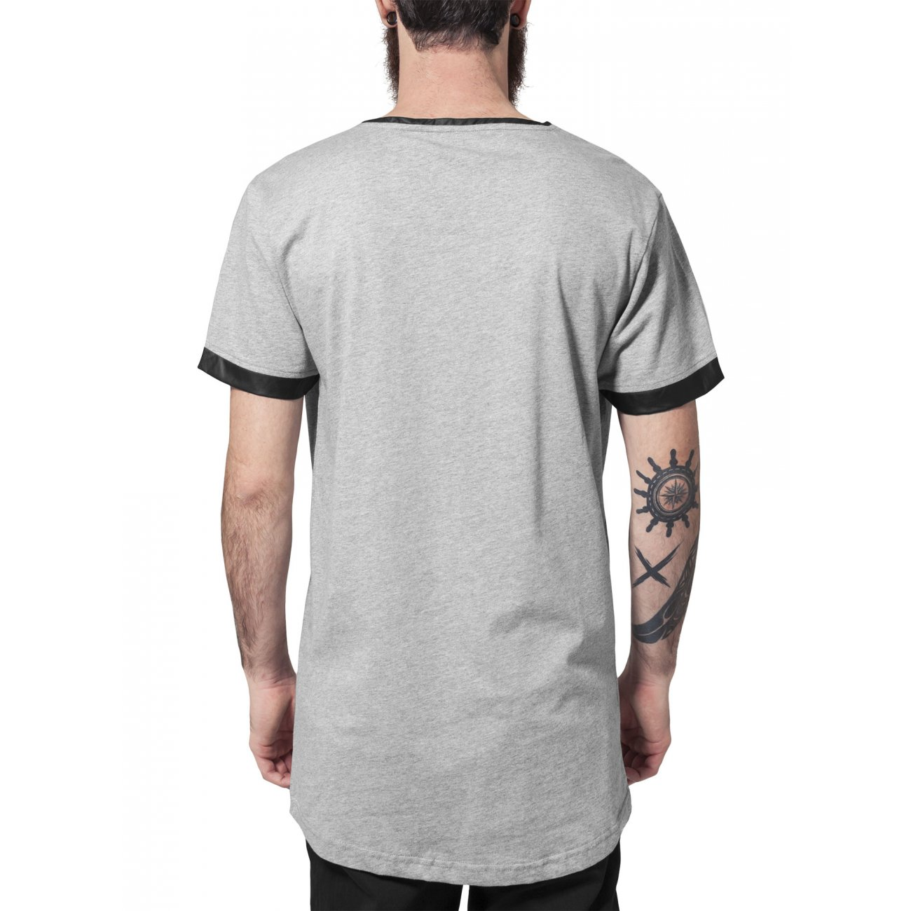 urban classics t shirt herren long shaped kunstleder patch shirt tb 8. Black Bedroom Furniture Sets. Home Design Ideas