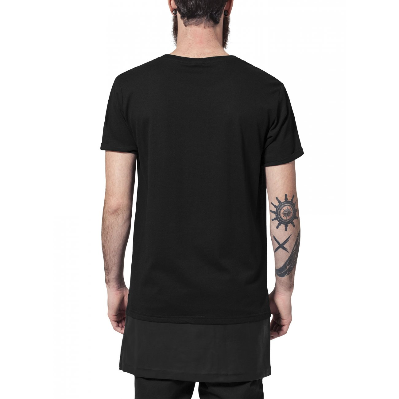 urban classics t shirt mit kunstleder long zipped mix tb 818. Black Bedroom Furniture Sets. Home Design Ideas
