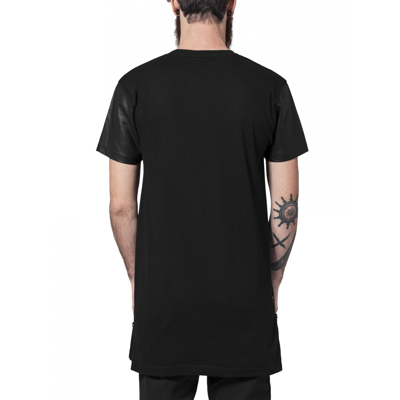 urban classics t shirt long zipped pu leder shirt tb 820 schwarz. Black Bedroom Furniture Sets. Home Design Ideas