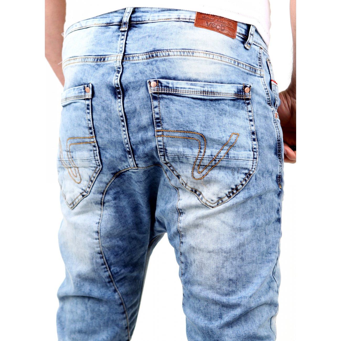 vsct herren jeans spencer low crotch bleached style v 5641354 hellbla. Black Bedroom Furniture Sets. Home Design Ideas