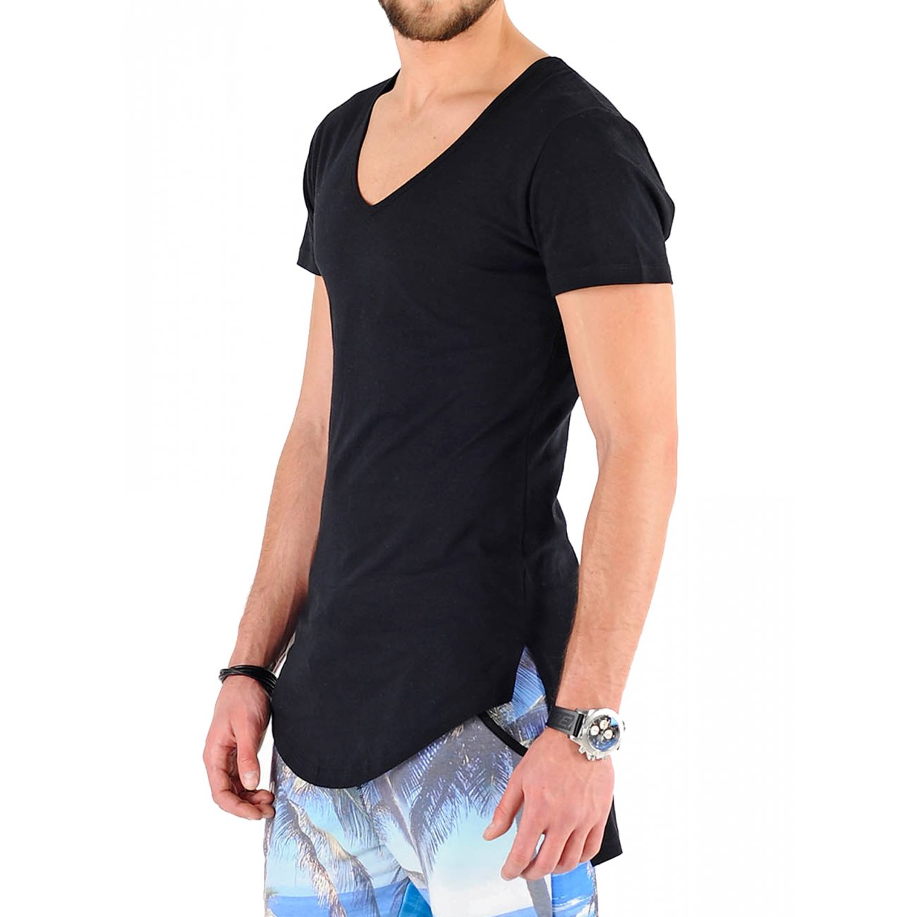 vsct t shirt herren basic longshirt mit tiefem v neck v 5641406 von vsct streetwear clubwear. Black Bedroom Furniture Sets. Home Design Ideas