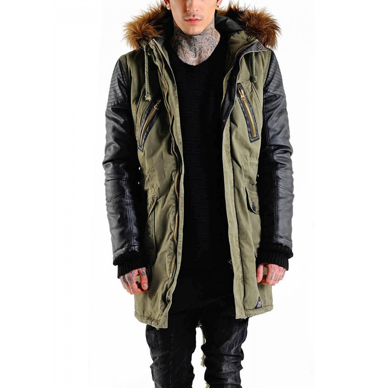 vsct winterjacke herren parka mit rmel im lederlook khaki. Black Bedroom Furniture Sets. Home Design Ideas
