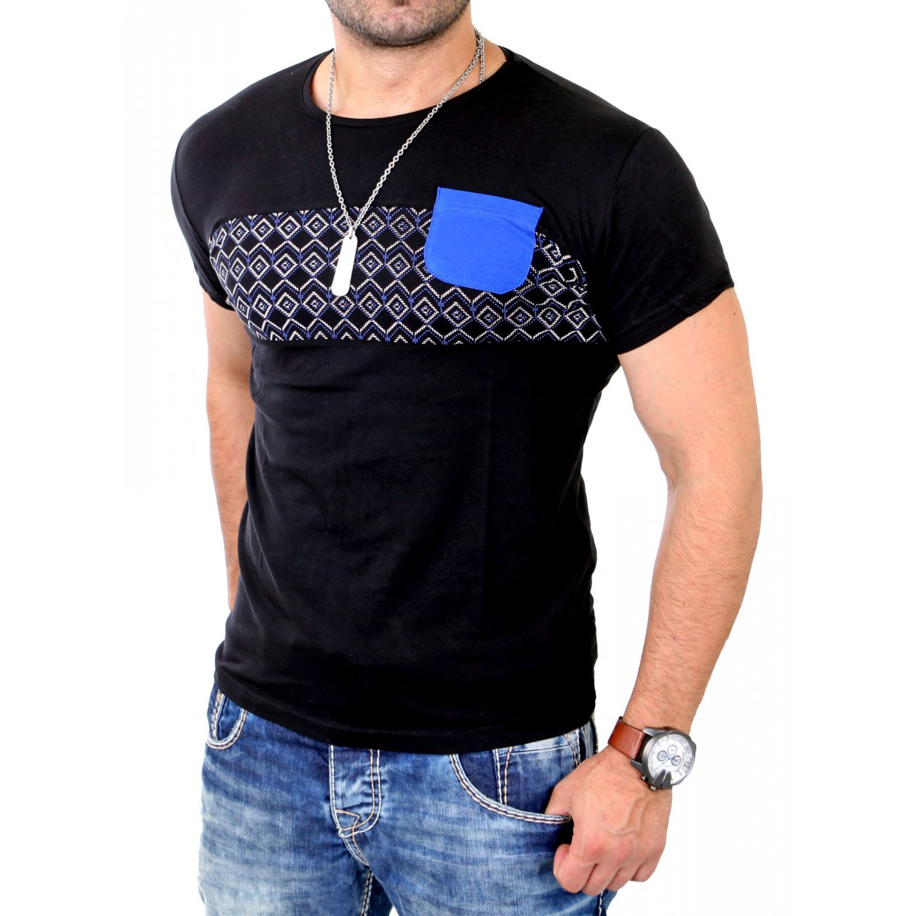 young rich t shirt herren casual style print kurzarm. Black Bedroom Furniture Sets. Home Design Ideas