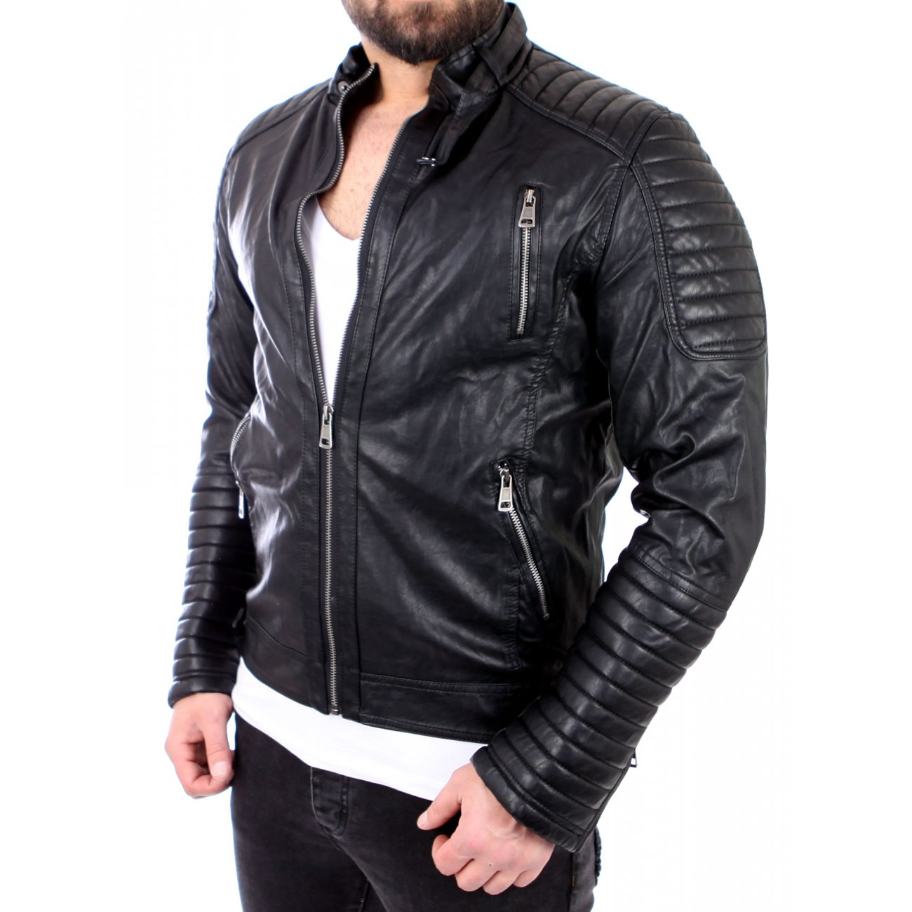 reslad lederjacke herren zipped biker look kunstleder jacke rs 543 sc. Black Bedroom Furniture Sets. Home Design Ideas