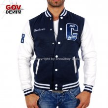 Gov Denim Z-13031 Oldschool College Jacke Blau-Wei�