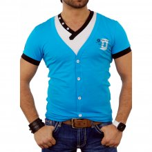 Kickdown Herren V-Neck Layer Style Kontrast T-Shirt K-2319