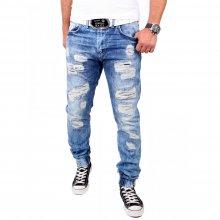 ReRock Herren Jeans Jogginghose Destroyed Jogg-Jeans Sweatpant RR-PERVER Blau W29