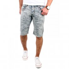 Reslad Shorts Herren Vintage Text Print Jeans Bermuda Capri RS-6002 Grau W30