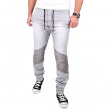 Tazzio Herren Jeans Jogginghose Sweatpant Jogg-Jeans Biker Stil TZ-16505 Grau M