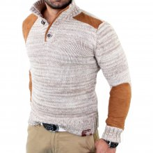 Tazzio Herren Velour-Patched Strickpullover Winter...