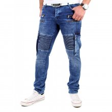 Tazzio Jeans Herren Slim Fit Cargo Pocket Biker Stil Jeans-Hose TZ-16529 Blau