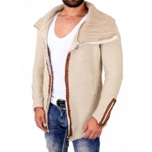 Tazzio Strickjacke Herren Grobstrick Wide Neck Zipper...